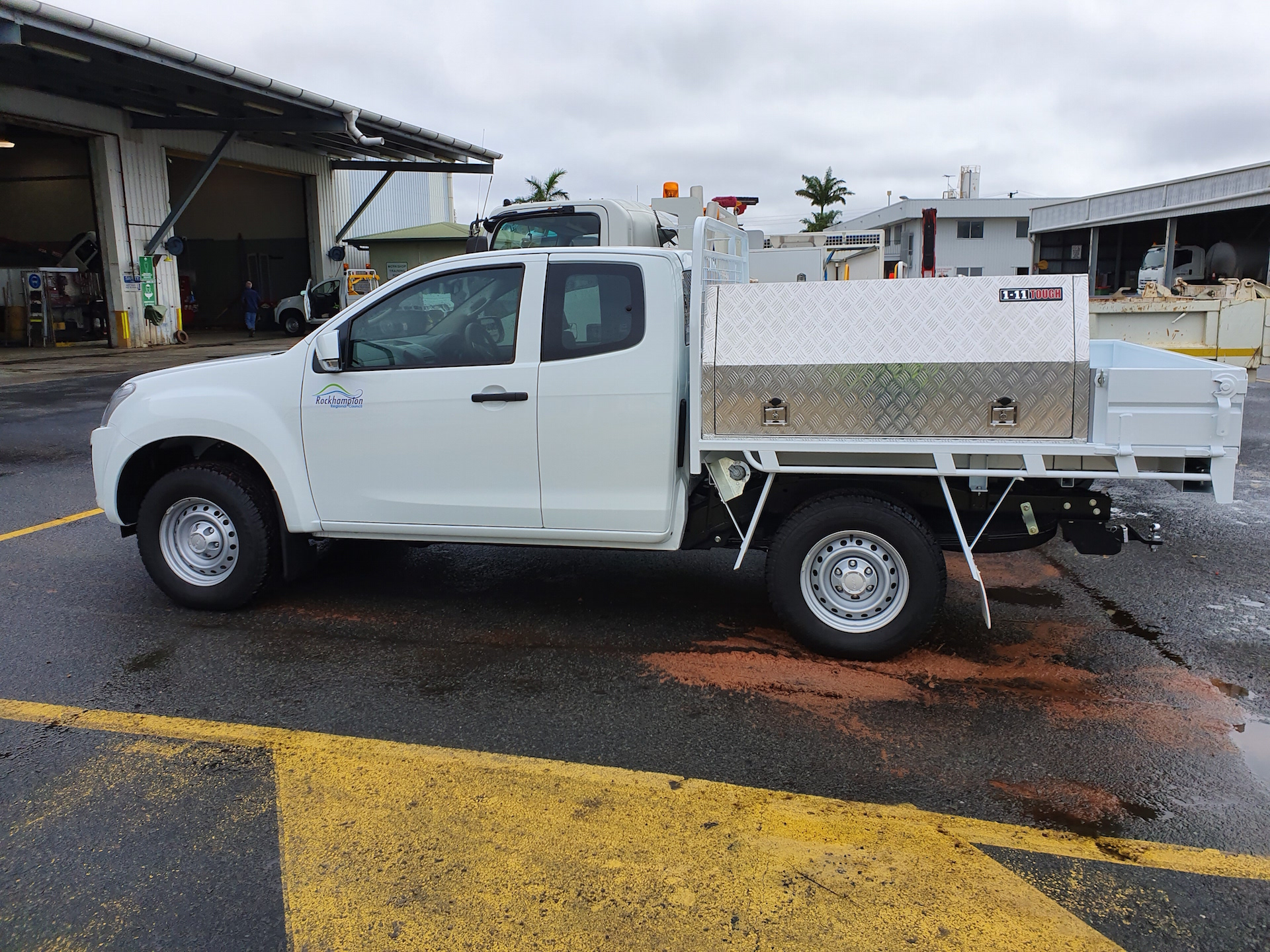 Isuzu Ute tray body Drop side with customised ToolBox fitted to side